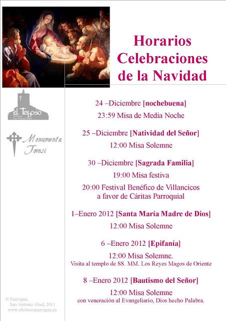 Navidad 2011 -Horarios