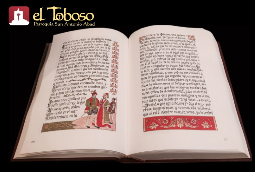 La Parroquia de El Toboso participa de la edición manuscrita del «Persiles» de Cervantes en el cuarto centenario de su publicación